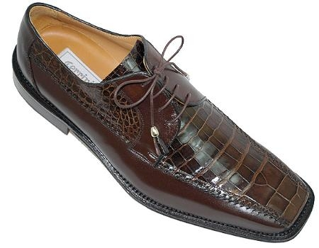 SKU#GD048 Ferrini Brown Genuine Alligator Shoes $269