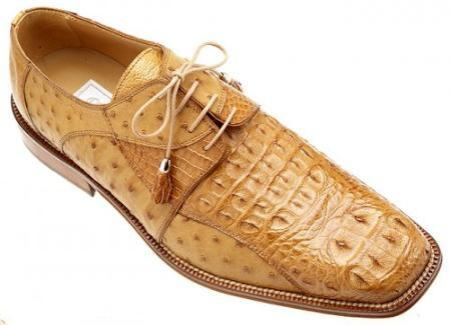 SKU#OZ4199 Ferrini Cognac Genuine Crocodile ~ Alligator /Ostrich Shoes