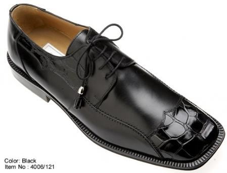 SKU#WB9690 Ferrini Genuine Alligator/Calf Shoes Black