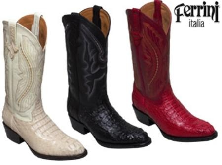 SKU#QK900 Ferrini Mens Cowboy Crocodile Caiman Head R-Toe Boots $378