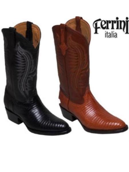 MensUSA Ferrini Mens Cowboy Lizard R Toe Boots at Sears.com