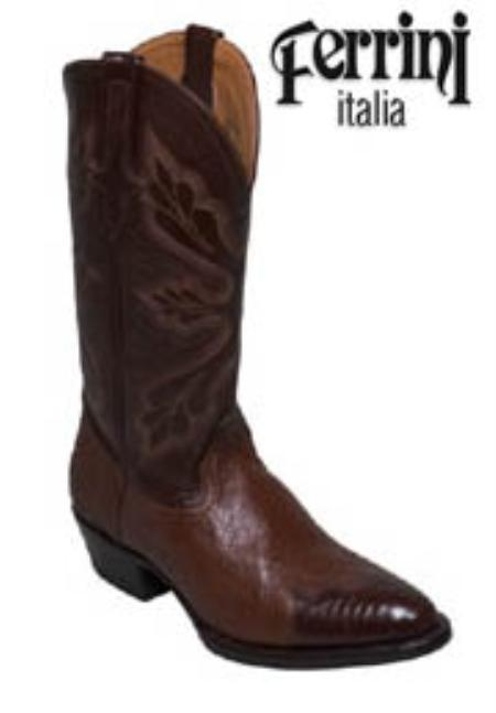 SKU#KS871 Ferrini Mens Cowboy Lizard/Smooth Ostrich R-Toe Boots $240