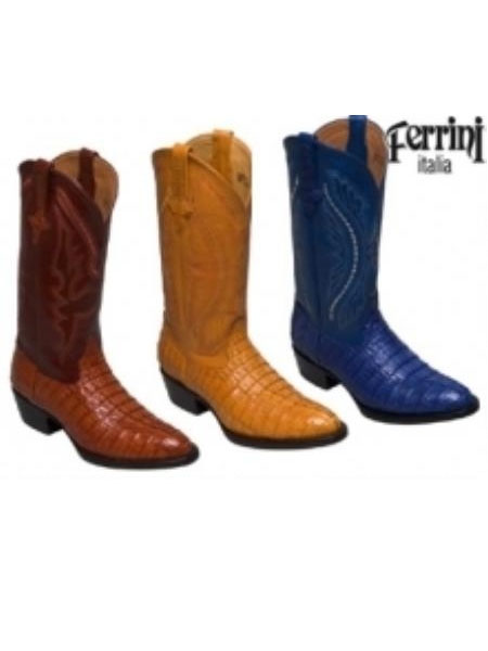 SKU#HK690 Ferrini Mens Cowboy Crocodile Caiman Tail R-Toe Boots $380