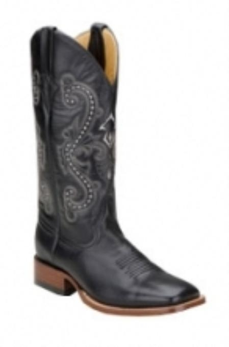 SKU#AF618 Ferrini Mens Cowhide S-Toe Black Boots $135