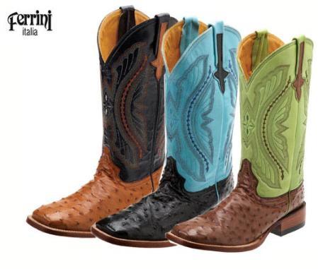 SKU#JL817 Ferrini Mens Full Quill Ostrich S-Toe Boots $386