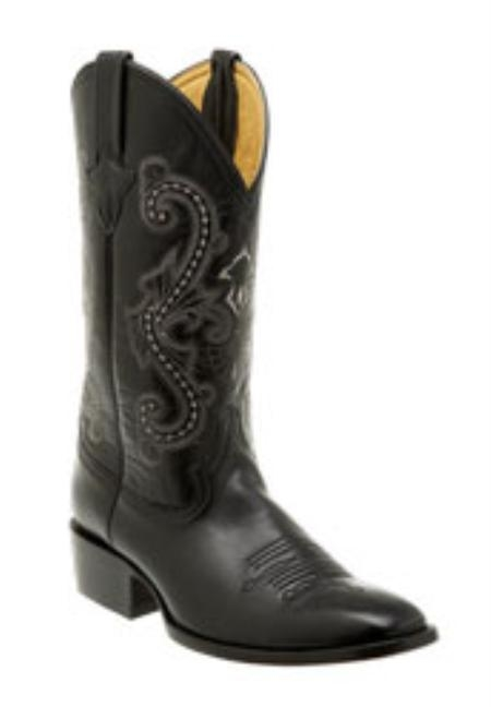 SKU#LM717 Ferrini Mens Goat R-Toe Black Boots $155