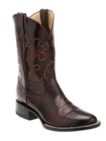 SKU#KF712 Ferrini Mens Goat Leather F-Toe Black Cherry Boots $165