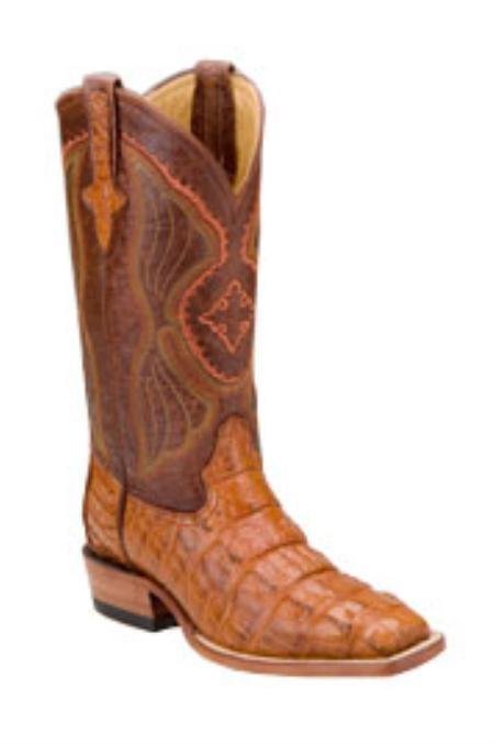 SKU#EF715 Ferrini Mens Hornback Alligator D-Toe Peanut Boots $555