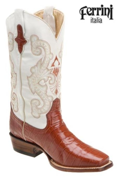 SKU#HN678 Ferrini Mens Print Belly Alligator D-Toe Peanut Boots $165
