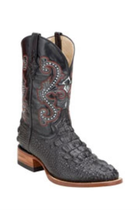 SKU#PK676 Ferrini Mens Print Caiman Crocodile Black Boots $128