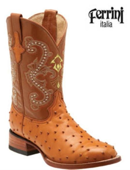 SKU#MB710 Ferrini Mens Print Ostrich F-Toe Cowboy Boots $153