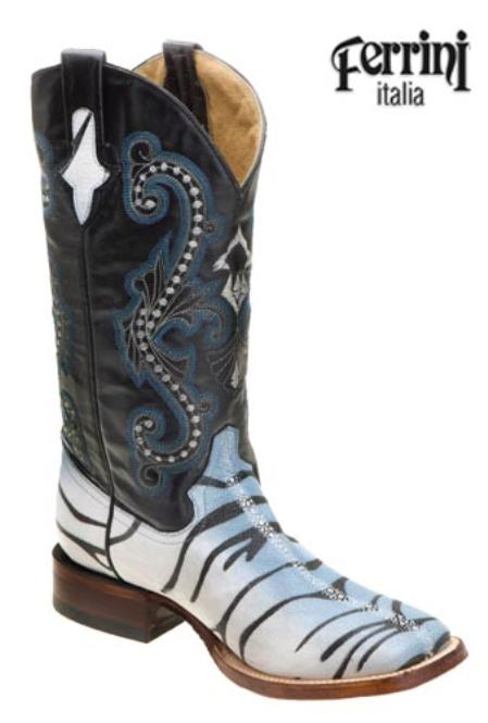 SKU#HA827 Ferrini Mens Print Stingray Tiger Stripe S-Toe Boots $175