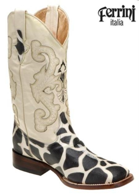 SKU#NH615 Ferrini Mens Print Stingray Giraffe S-Toe Western Boots $175