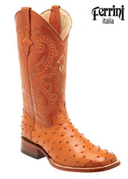 SKU#VB710 Ferrini Mens Print Ostrich S-Toe Cowboy Boots $155