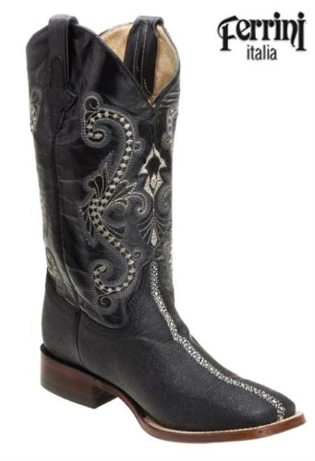 SKU#JA789 Ferrini Mens Print Stingray Striped S-Toe Boots $155