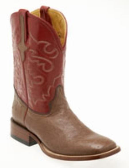 SKU#AK980 Ferrini Mens Smooth Ostrich S-Toe Boots