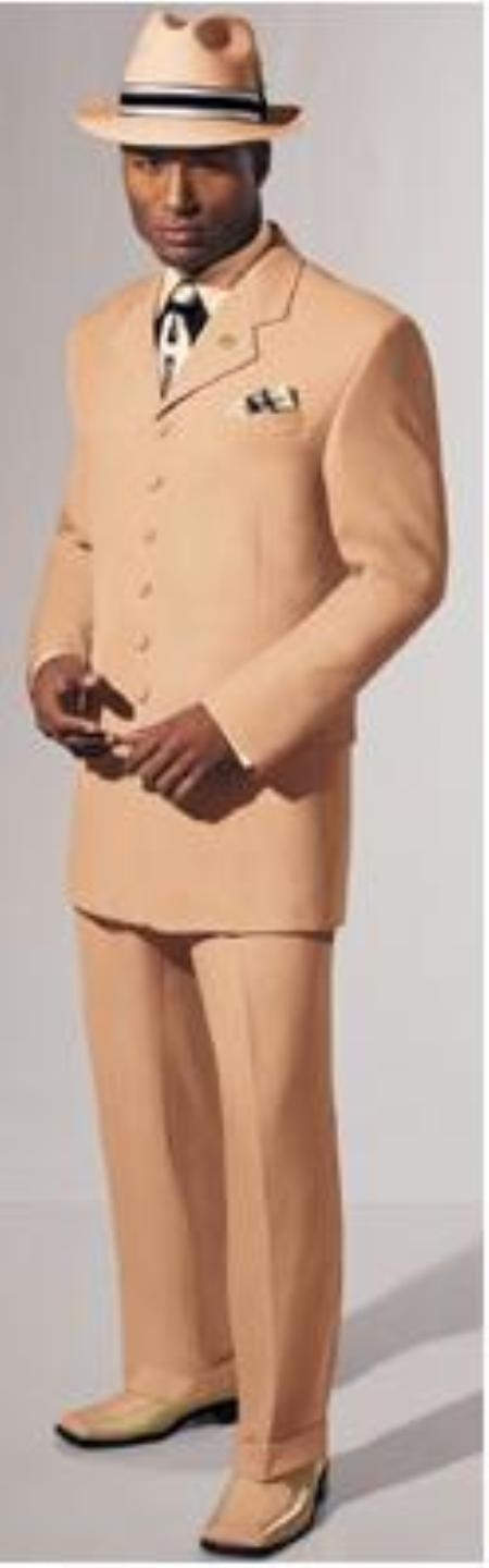 SKU#MUA77 Festive Bright Exvclusive Solid Peach Fashion Mens Zoot Suit 38 Inch Long Jacket $139