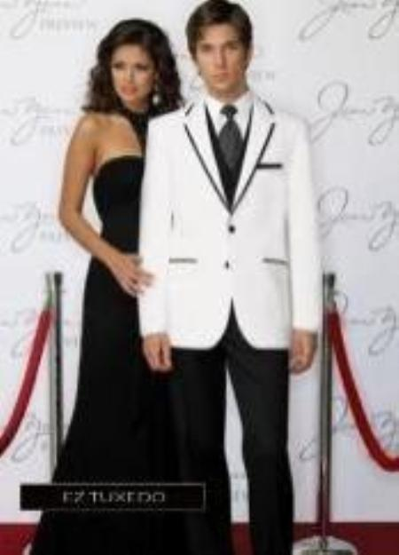 SKU#DV3947 Tapered Leg Lower Rise Pants & Get Skinny Fitted Slim Fitc Cut Savoy White with Black Edge Tuxedo