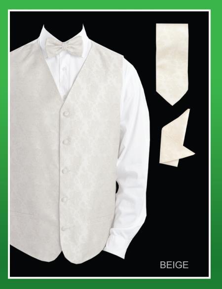 Mens 4 Piece Groomsmen Dress Tuxedo Wedding Vest Set (Bow Tie, Neck Tie, Hanky) - P A I S L E Y Jacquard Beige
