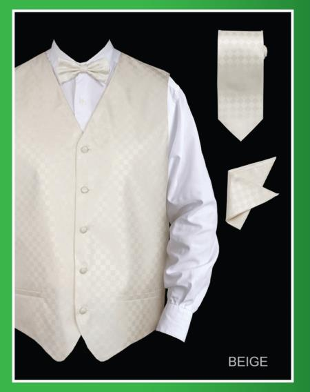 Men's 4 Piece Groomsmen Dress Tuxedo Wedding Vest ~ Waistcoat ~ Waist coat  Set (Bow Tie, Neck Tie, Hanky) - Chessboard Checkered Beige