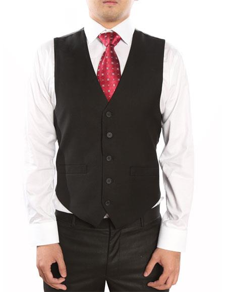 Mens Black 5 Button Single Breasted Classic Fit Fully Lined Vest