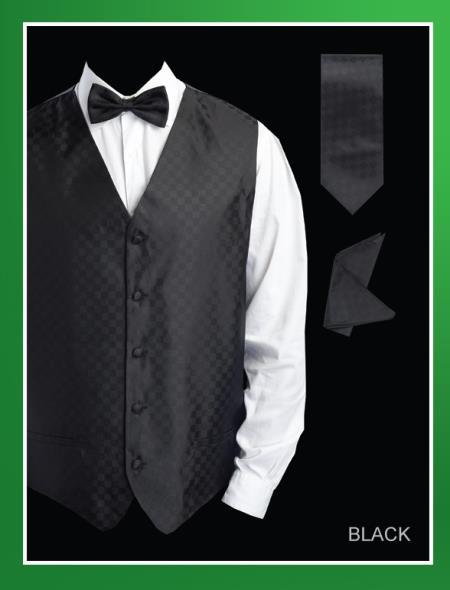 Men's 4 Piece Groomsmen Dress Tuxedo Wedding Vest ~ Waistcoat ~ Waist coat  Set (Bow Tie, Neck Tie, Hanky) - Chessboard Checkered Black