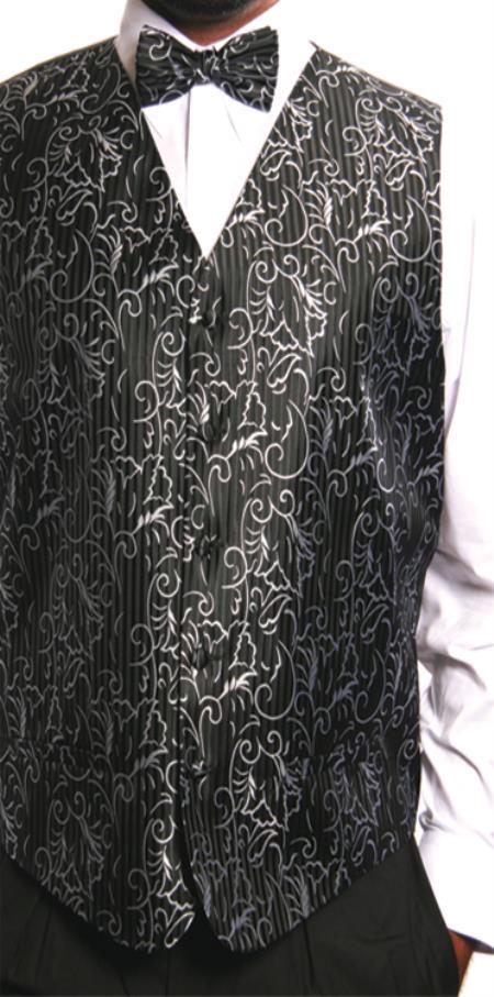 Men's 4 Piece JQD Groomsmen Dress Tuxedo Wedding Vest ~ Waistcoat ~ Waist coat  Set (Bow Tie, Neck Tie, Hanky) Black