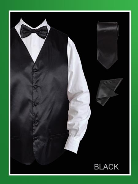 Men's 4 Piece Groomsmen Dress Tuxedo Wedding Vest ~ Waistcoat ~ Waist coat  Set (Bow Tie, Neck Tie, Hanky) - Satin Black