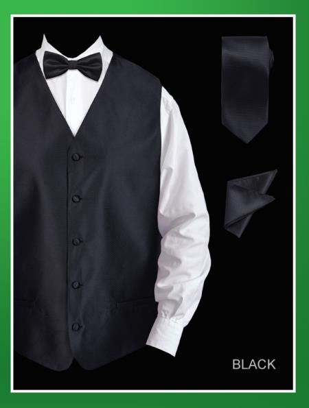 Men's 4 Piece Dress Tuxedo Wedding Vest ~ Waistcoat ~ Waist coat Set (Bow Tie, Neck Tie, Hanky) - Twill patterned Black