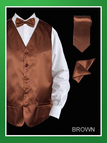 Men's 4 Piece Groomsmen Dress Tuxedo Wedding Vest ~ Waistcoat ~ Waist coat  Set (Bow Tie, Neck Tie, Hanky) - Satin Brown
