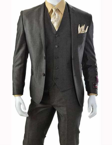 Mens Brown Three Piece Slim Fit Notch Lapel Single Breasted 5 Button Vested Suit
