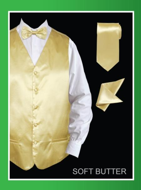 Mens 4 Piece Dress Tuxedo Wedding Vest ~ Waistcoat ~ Waist coat Set (Bow Tie, Neck Tie, Hanky) - Satin Soft Butter
