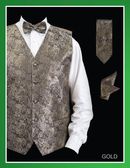 Mens Four Piece Groomsmen Dress Tuxedo Wedding Vest ~ Waistcoat ~ Waist coat  Set (Bow Tie, Neck Tie, Hanky) - P A I S L E Y Design Gold
