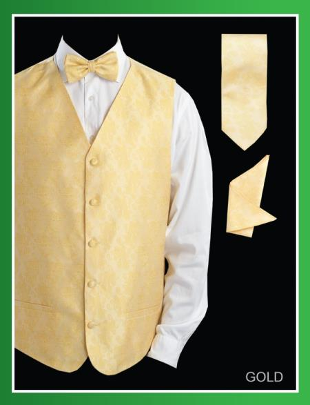 Mens Four Piece P A I S L E Y Jacquard Gold ~ Yellow ~ Banana - Groomsmen Dress Tuxedo Wedding Vest ~ Waistcoat ~ Waist coat Set (Bow Tie, Neck Tie, Hanky)