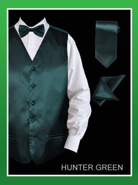 SKU#HUN23 Mens 4 Piece Vest Set (Bow Tie, Neck Tie, Hanky) - Satin Hunter Green