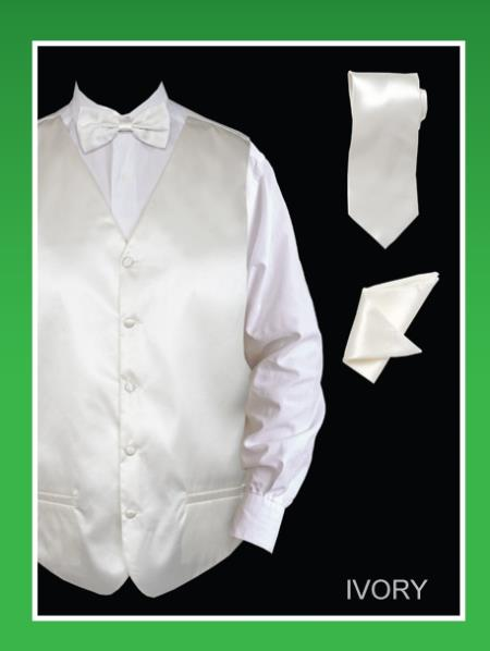 Men's 4 Piece Groomsmen Dress Tuxedo Wedding Vest ~ Waistcoat ~ Waist coat  Set (Bow Tie, Neck Tie, Hanky) - Satin Ivory