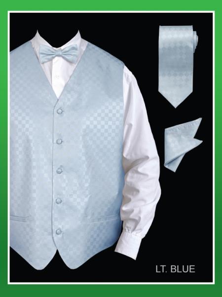 Men's 4 Piece Groomsmen Dress Tuxedo Wedding Vest ~ Waistcoat ~ Waist coat Set (Bow Tie, Neck Tie, Hanky) - Chessboard Checkered Light Blue