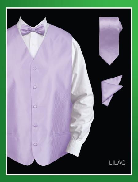 Mens 4 Piece Dress Tuxedo Wedding Vest ~ Waistcoat ~ Waist coat Set (Bow Tie, Neck Tie, Hanky) - Twill patterned Lilac Lavender