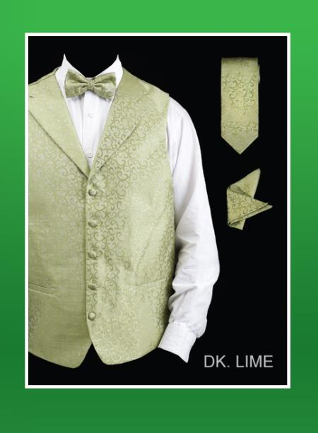 SKU#GW82 Mens 4 Piece Vest Set (Bow Tie, Neck Tie, Hanky) - Lapelled Vest Dark lime mint