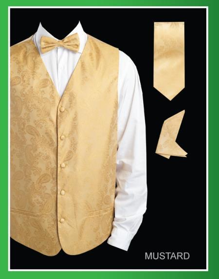 SKU#RYU33 Mens 4 Piece Vest Set (Bow Tie, Neck Tie, Hanky) - Shiny Paisley Jacquard Mustard