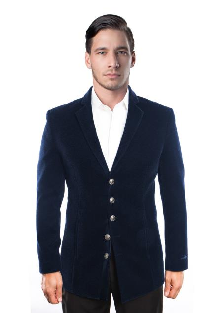 Men's 5 Button Velvet Cheap Priced Designer Fashion Dress Casual For Men On Sale Men's blazer Jacket Dark Navy Blue