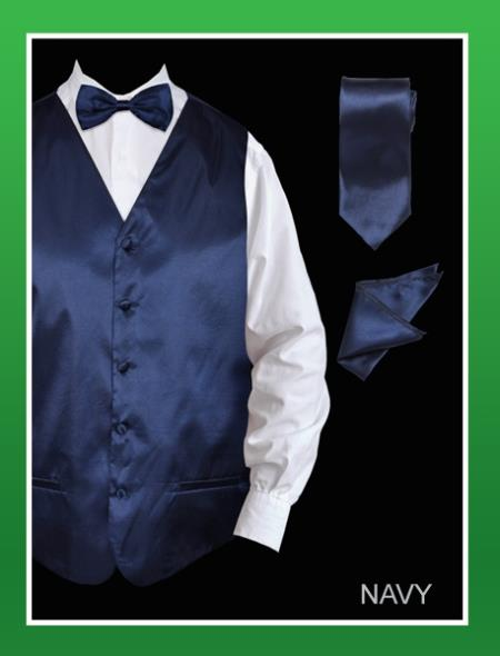 Mens 4 Piece Dress Tuxedo Wedding Vest ~ Waistcoat ~ Waist coat Set (Bow Tie, Neck Tie, Hanky) - Satin Navy