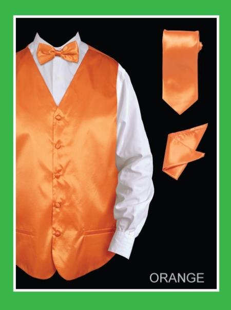 Mens 4 Piece Dress Tuxedo Wedding Vest Set (Bow Tie, Neck Tie, Hanky) - Satin Orange