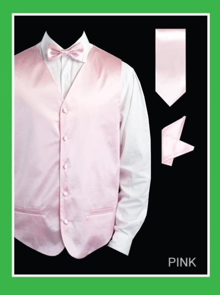 Mens 4 Piece Dress Tuxedo Wedding Vest ~ Waistcoat ~ Waist coat Set (Bow Tie, Neck Tie, Hanky) - Satin Pink