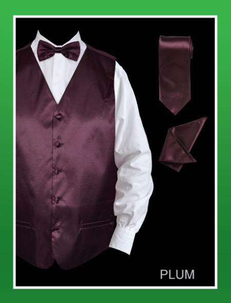 Men's 4 Piece Dress Tuxedo Wedding Vest ~ Waistcoat ~ Waist coat Set (Bow Tie, Neck Tie, Hanky) - Satin Very Dark Purple