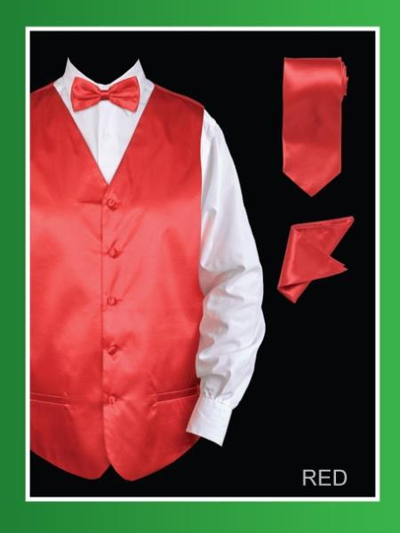 Mens 4 Piece Dress Tuxedo Wedding Vest ~ Waistcoat ~ Waist coat Set (Bow Tie, Neck Tie, Hanky) - Satin Red