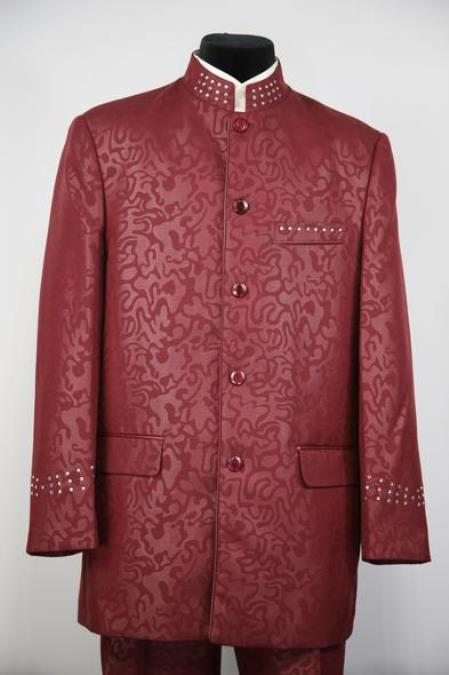 Men's Mandarin Collar Burgundy Suit Rhinestone Burgundy ~ Maroon Suit  ~ Wine Paisley Banded Collar Mandarin Chines Collar Suit
