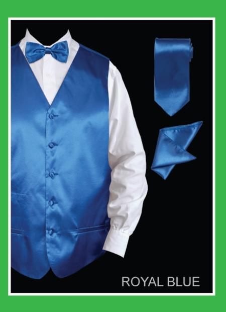 Mens 4 Piece Dress Tuxedo Wedding Vest Set (Bow Tie, Neck Tie, Hanky) - Satin Royal Blue
