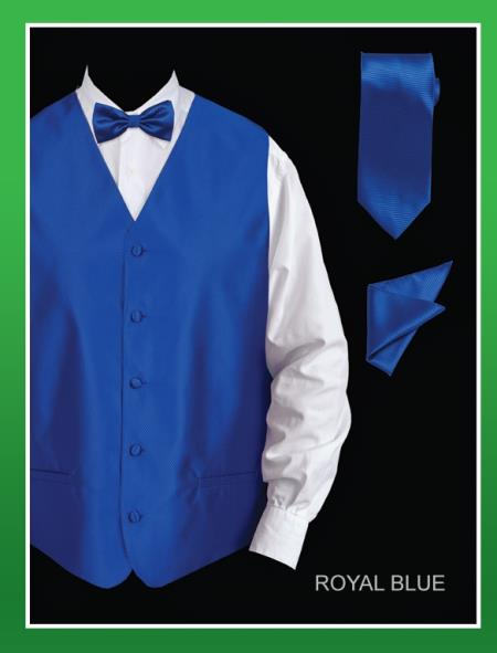 Men's 4 Piece Dress Tuxedo Wedding Vest ~ Waistcoat ~ Waist coat Set (Bow Tie, Neck Tie, Hanky) - Twill patterned Royal Blue