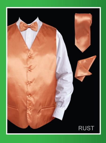 Men's 4 Piece Dress Tuxedo Wedding Vest ~ Waistcoat ~ Waist coat Set (Bow Tie, Neck Tie, Hanky) - Satin Rust